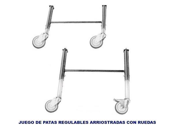 Juego de patas regulables en altura con ruedas for Patas con ruedas