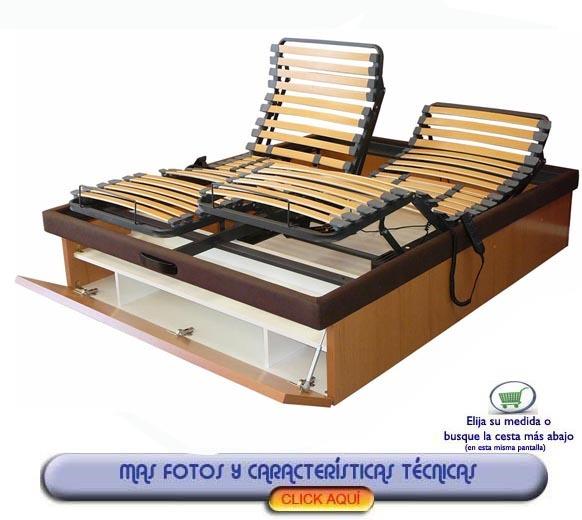 Canape articulado electrico con cajon zapatero un canape for Precio somier 135